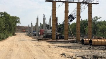 Crews Build the FM 897 Bridge Support Columns