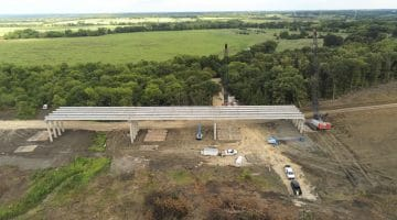 Placing the First Set of Beams for the FM 897 Bridge