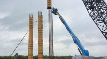 Construction on bridge columns for the new section of FM 897