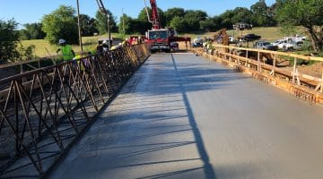 Pouring deck for the FM 897 bridge across the lake