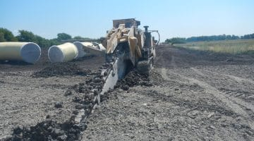 Trenching for the raw water pipeline