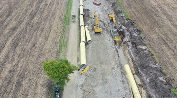 Raw water pipeline being placed and buried