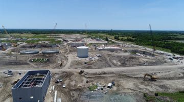 Work on the Leonard Water Treatment Plant (water storage tank in the center) June 2020