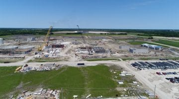 Leonard Water Treatment Plant construction, looking north May 2020