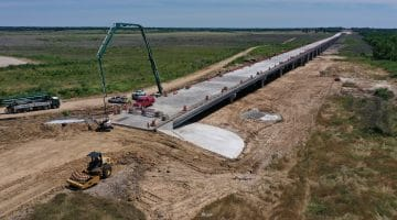 Pouring concrete on the north end of the FM 897 bridge May 2020