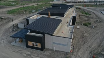 Side view of the operations center at Leonard Water Treatment Plant August 2020