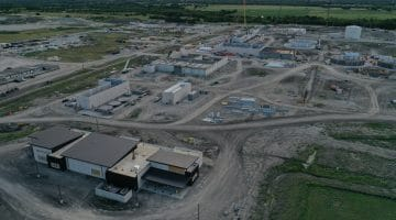 Overhead shot of the treatment plant with the operations center in the front August 2020