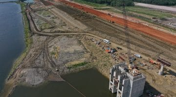 Work on the Bois d'Arc Lake Dam with the intake pump station in front as of September 2020