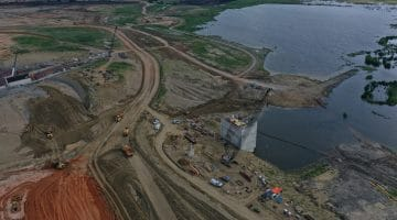 Construction on the lake dam September 2020
