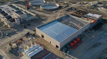 Tanks of liquid ozone and ozone building for disinfecting water as of October 2020