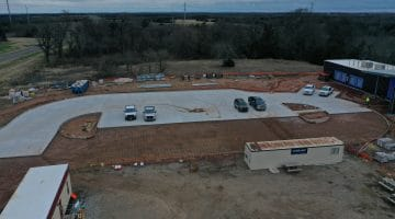 Dam Operation Building and parking lot (halfway finished) as of January 2021