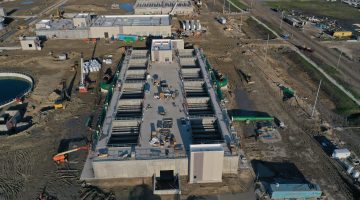 Filters at the Leonard Water Treatment Plant site March 2021