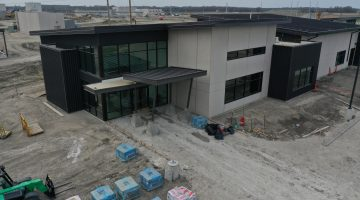 Work on the operations center for Leonard Water Treatment Plant as of March 2021