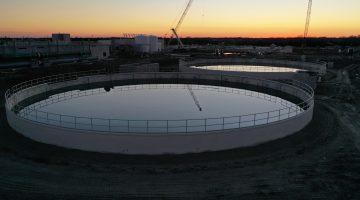 The Leonard Plant's reclaim basins March 2021