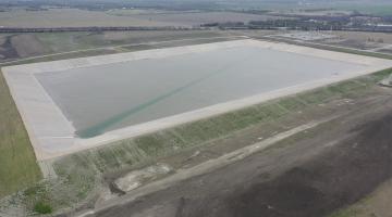 The Leonard Plant's terminal storage reservoir March 2021