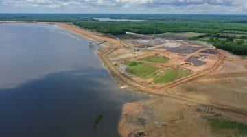 View of future lake back toward the dam May 2021