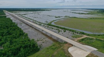Overhead of FM 897 as the lake fills up May 2021