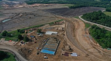 Construction on the Dam Maintenance Facility as of May 2021
