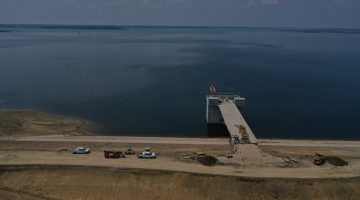 Completed intake structure and filling lake July 2021
