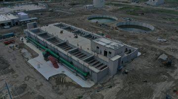 Water filtration building at Leonard Plant July 2021