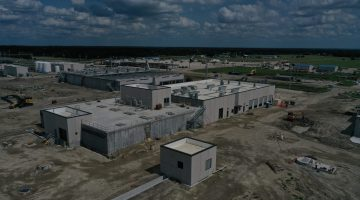 Ozone treatment building as of July 2021