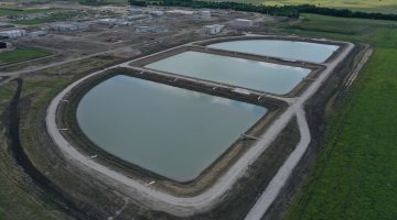 Sludge lagoons at Leonard Water Treatment Plant as of July 2021